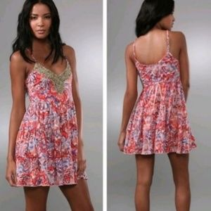 NWOT Free People Boho Beaded Coral Medium Dress